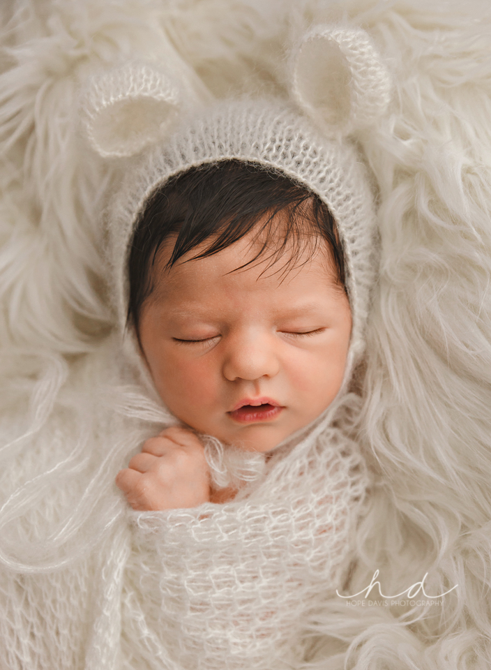 newborn baby bear bonnet professional photo