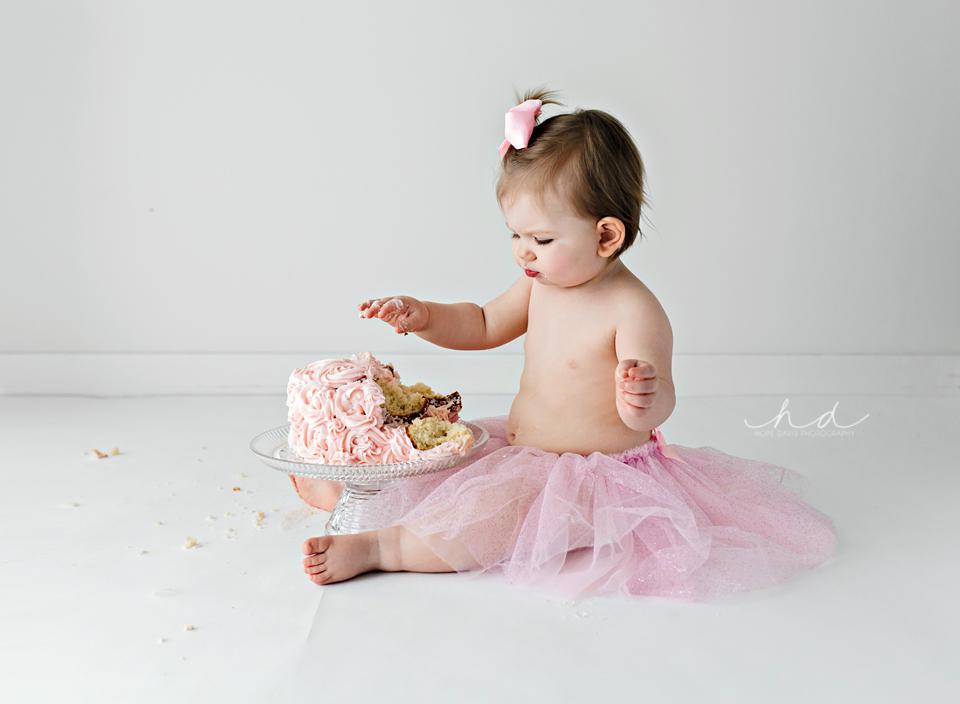 pink tutu one year old cake smash