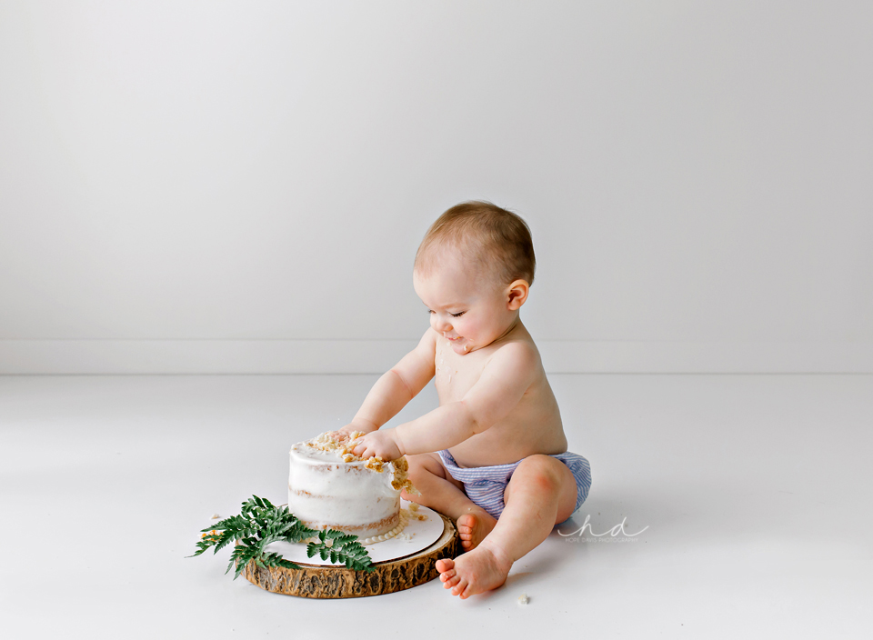 white cake smash with greenery on wood