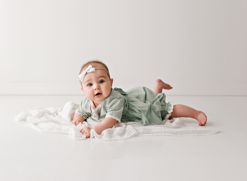 simple 6 month old session in white studio