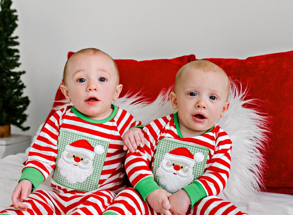 twin christmas jammies