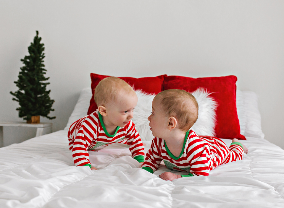 twins christmas pajamas baby photo